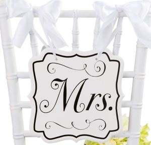 White Mrs. Wedding Chair Sign