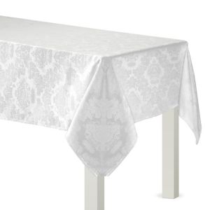 White Damask Fabric Tablecloth