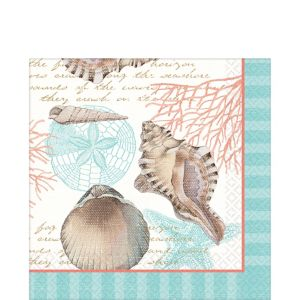 Eco-Friendly By the Sea Seashell Lunch Napkins 16ct