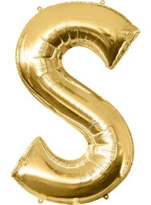 Giant Gold Letter S Balloon