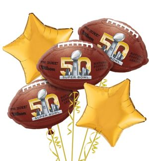 Super Bowl 50 Balloon Bouquet 5pc - Football