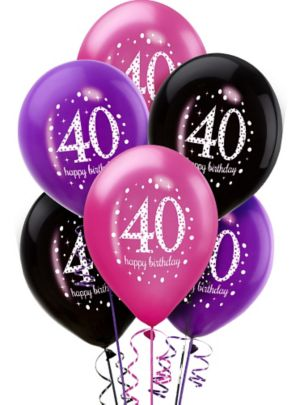 40th Birthday Balloons 6ct - Pink Sparkling Celebration
