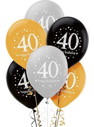40th Birthday Balloons 6ct - Sparkling Celebration