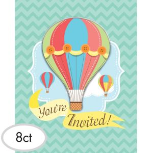Up & Away Baby Shower Invitations 8ct