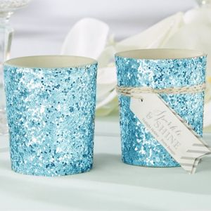 Blue Glitter Tealight Candle Holder