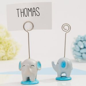 Blue Baby Elephant Place Card Holder