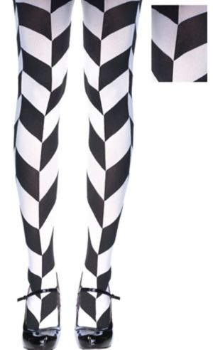 Black & White Herringbone Tights