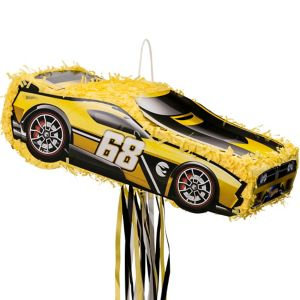 Pull String Yellow Race Car Pinata - Hot Wheels