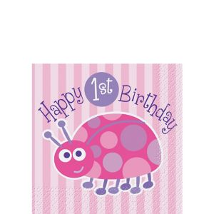 Pink Ladybug 1st Birthday Beverage Napkins 16ct