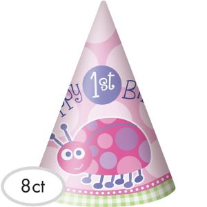 Pink Ladybug 1st Birthday Party Hats 8ct