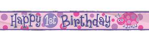 Pink Ladybug 1st Birthday Foil Banner