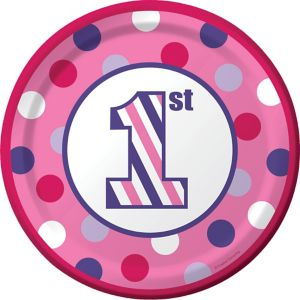 Pink Dots & Stripes 1st Birthday Lunch Plates 8ct