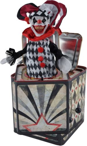 Animated Creepy Jester Jack-in-the-Box