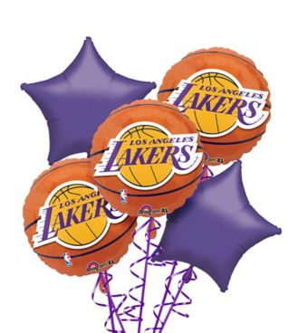Los Angeles Lakers Balloon Bouquet 5pc - Basketball