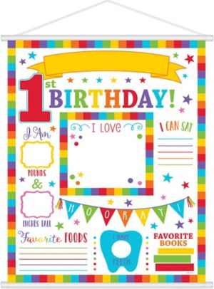 Rainbow 1st Birthday Milestone Sign 19in X 24in Party City