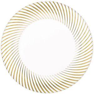 White Gold Swirl Border Premium Plastic Dinner Plates 10ct