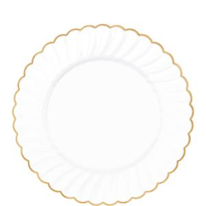 White Gold-Trimmed Premium Plastic Scalloped Lunch Plates 20ct