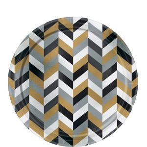 Metallic Black, Gold & Silver Herringbone Dessert Plates 8ct