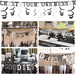 Black & White Create Your Own Banner Kit