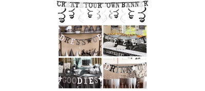 Black & White Create Your Own Banner Kit