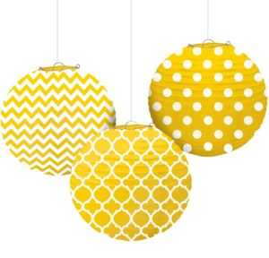 Sunshine Yellow Patterned Paper Lanterns 3ct