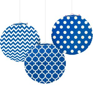 Royal Blue Patterned Paper Lanterns 3ct