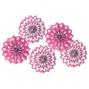 Bright Pink Polka Dot & Chevron Mini Paper Fan Decorations 5ct