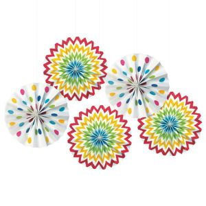 Bright Rainbow Polka Dot & Chevron Mini Paper Fan Decorations 5ct