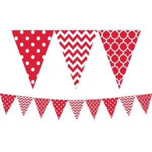 Red Patterned Pennant Banner