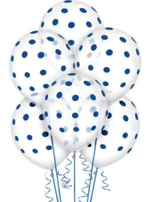 Transparent & Royal Blue Polka Dot Balloons 20ct