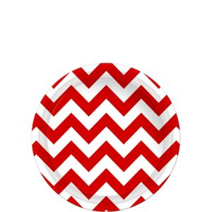 Red Chevron Paper Dessert Plates 8ct