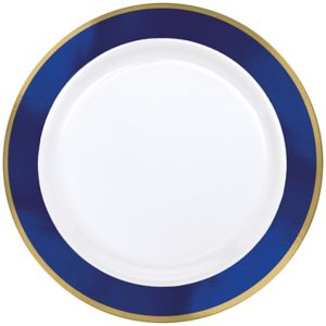 Gold & Royal Blue Border Premium Plastic Dinner Plates 10ct