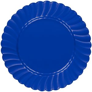 Royal Blue Premium Plastic Scalloped Dinner Plates 12ct
