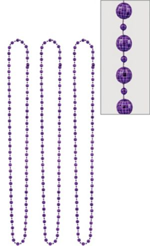 Purple Disco Bead Necklaces 3ct