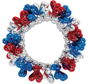 Blue, Red & Silver Bead Bracelet