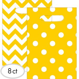 Sunshine Yellow Polka Dot & Chevron Favor Bags 8ct