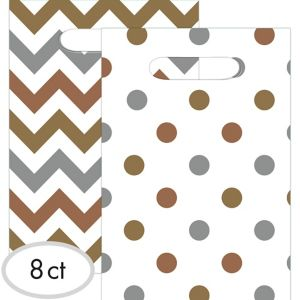 Metallic Polka Dot & Chevron Favor Bags 8ct