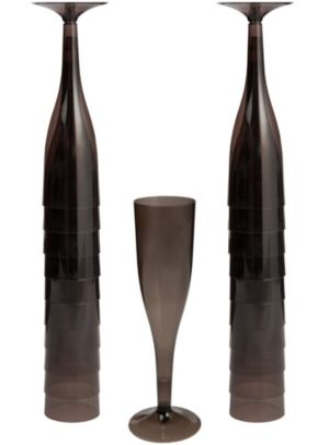 Big Party Pack Black Plastic Champagne Flutes 20ct