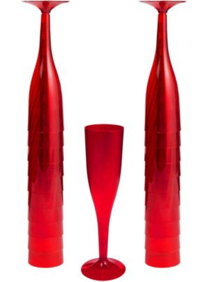 Big Party Pack Red Plastic Champagne Flutes 20ct