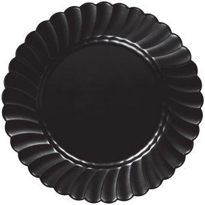 Black Premium Plastic Scalloped Dinner Plates 12ct