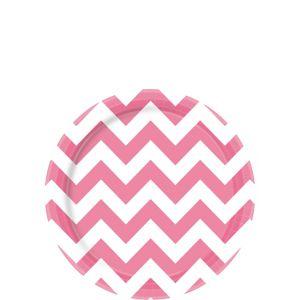 Bright Pink Chevron Paper Dessert Plates 8ct