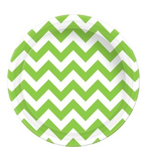 Kiwi Green Chevron Paper Lunch Plates 8ct