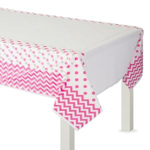 Bright Pink Polka Dot & Chevron Plastic Table Cover