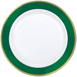 Gold & Festive Green Border Premium Plastic Dinner Plates 10ct