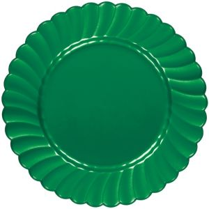 Festive Green Premium Plastic Scalloped Dinner Plates 12ct