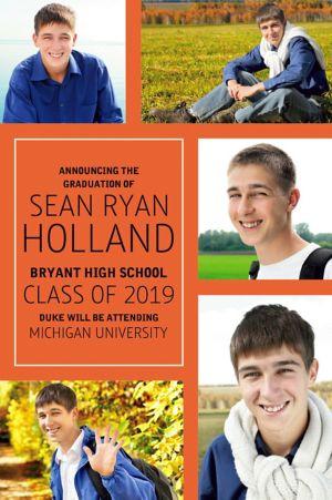 Custom Classic Orange Collage Graduation Photo Announcement