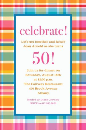 Custom Sunny Plaid Invitation