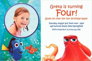 Custom Finding Dory Photo Invitation