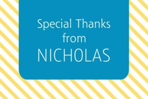 Custom Blue & Yellow Stripes Graduation Thank You Note