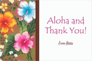 Custom Hawaiian Hibiscus Thank You Note